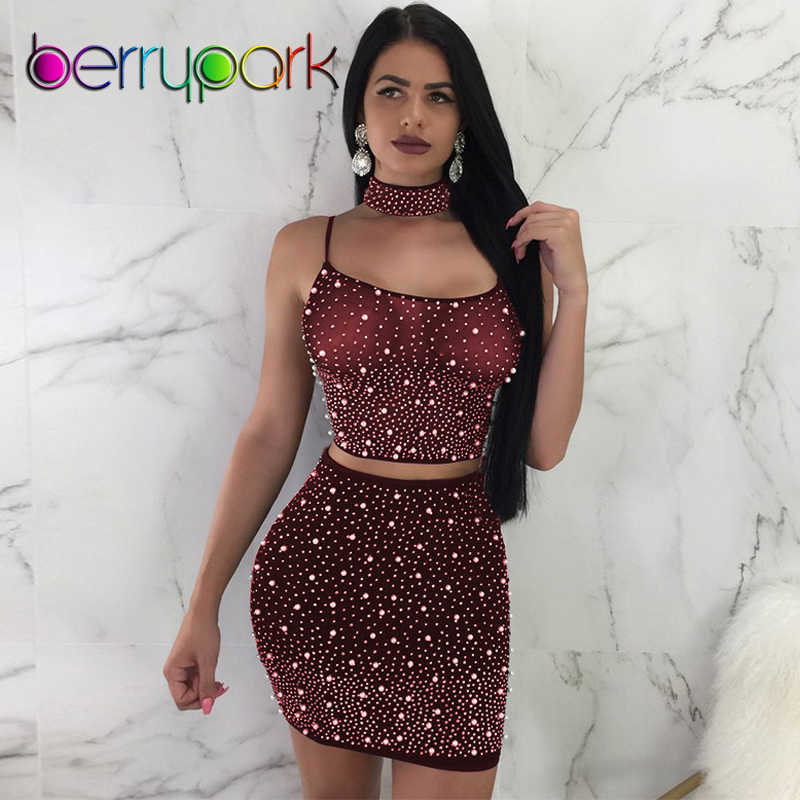 BerryPark 2019 Beading Pearls Diamonds Mesh Dress Women Backless Bandage Transparent Sexy Night Club 3 Pieces Set Party Outfits