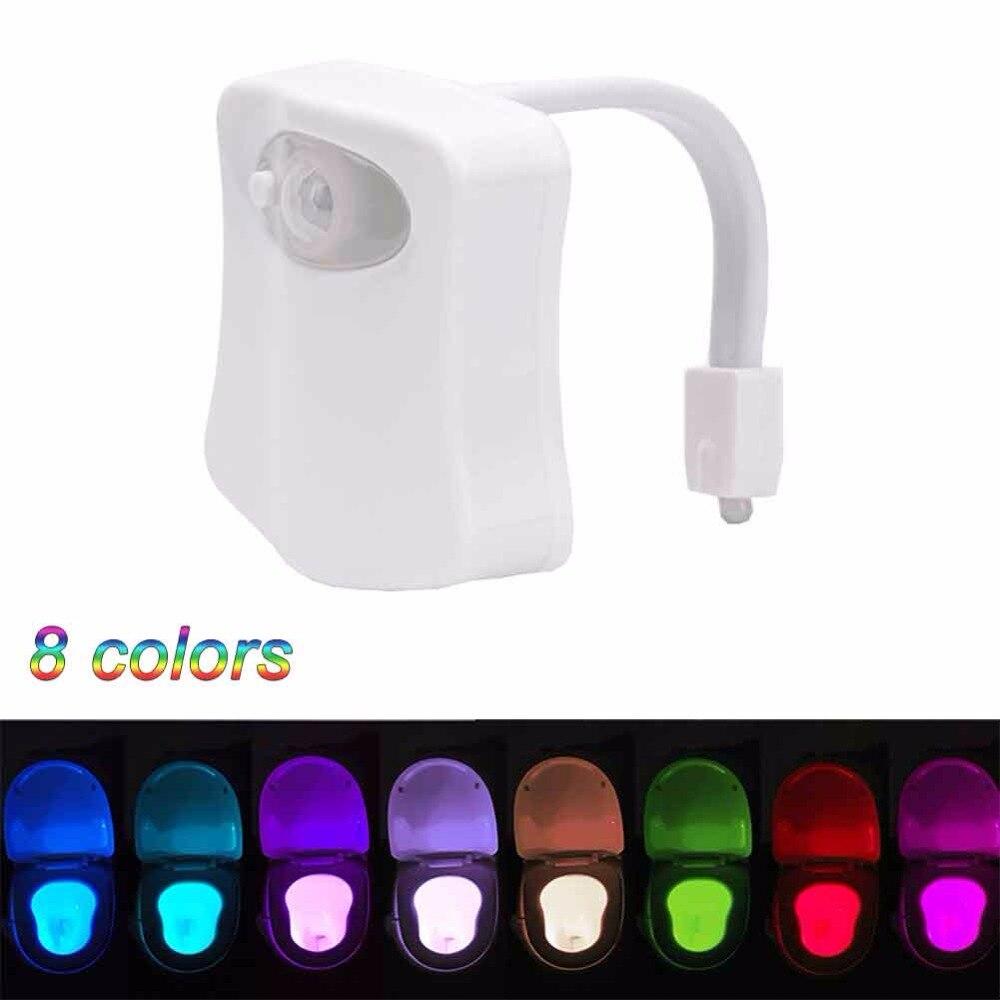 8 расцветок привело Туалет ночь свет движение активированный Сенсор Ванная комната Туалет Свет <font><b>wc</b></font> чувствительный встроенный Батарея лампа &#8230;