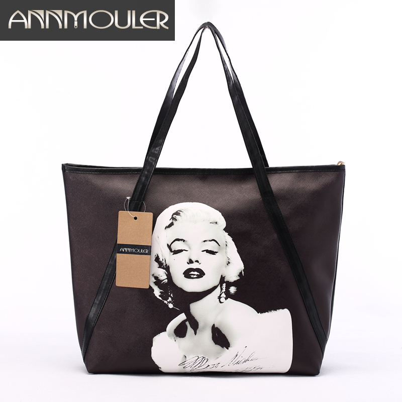 2016 New Fashion Women's Large Capacity Bag 3D-tryck Marilyn Monroe Shoulder Bag Office Lady Bag Pu Läder Svart Axelväska