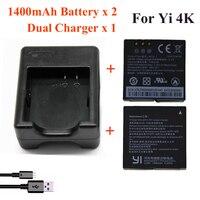 Для Xiaomi Yi 4 K 4 K + Yi lite, 1400 Mah 2 шт. батарея + Xiao Yi 2 двойное зарядное устройство для спорта Yi 4 K Аксессуары для экшн-камеры