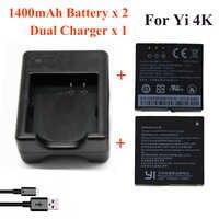 Dla Xiaomi Yi 4K 4K + Yi lite, 1400Mah 2 szt. Bateria + Xiao Yi 2 podwójna ładowarka do sportu Yi 4K akcesoria do kamer w ruchu