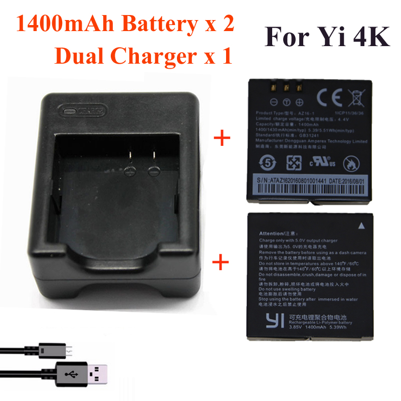 For Xiaomi Yi 4K 4K+Yi lite,1400Mah 2 Pcs Battery+Xiao Yi 2 Dual Battery Charger For Sport Yi 4K Action Camera Accessories xiaomi yi 4k action camera 2 ambarella a9se sony imx377 1400mah