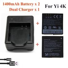 Xiaomi yi 4 k 1400 mah 2 unids batería + xiao yi 2 Dual Cargador de Batería Para Original Deporte Yi 4 K Acción Accesorios de La Cámara