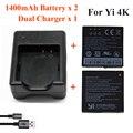 Xiaomi yi 4 k 1400 mah 2 pcs bateria + xiao yi 2 Carregador de Bateria duplo Para Esporte Originais Yi 4 K Acessórios Da Câmera Ação