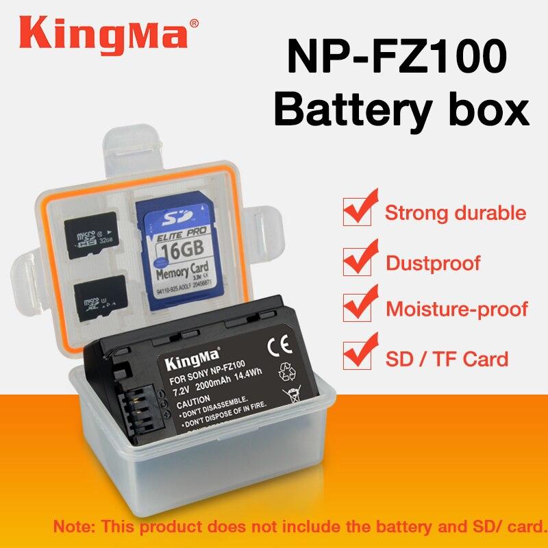 KingMa 5 unids np fz100 NP-FZ100 NPFZ100 batería de almacenamiento soporte para caja de plástico ILCE-9 A7m3 a7r3 A9 7RM3 micro de la caja de batería