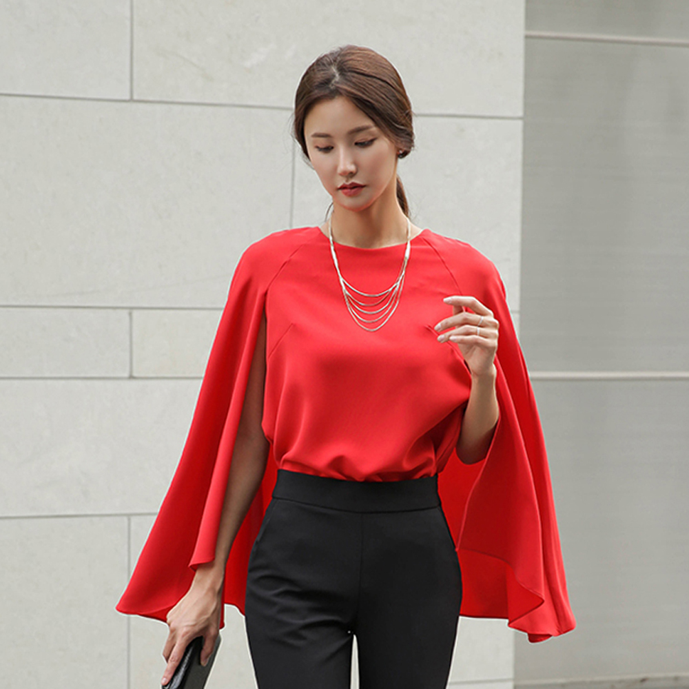 2019 new women's chiffon   shirt   fashion cloak shawl slim bottoming   shirt   casual elegant casual   blouses     shirt   chemises de femmes