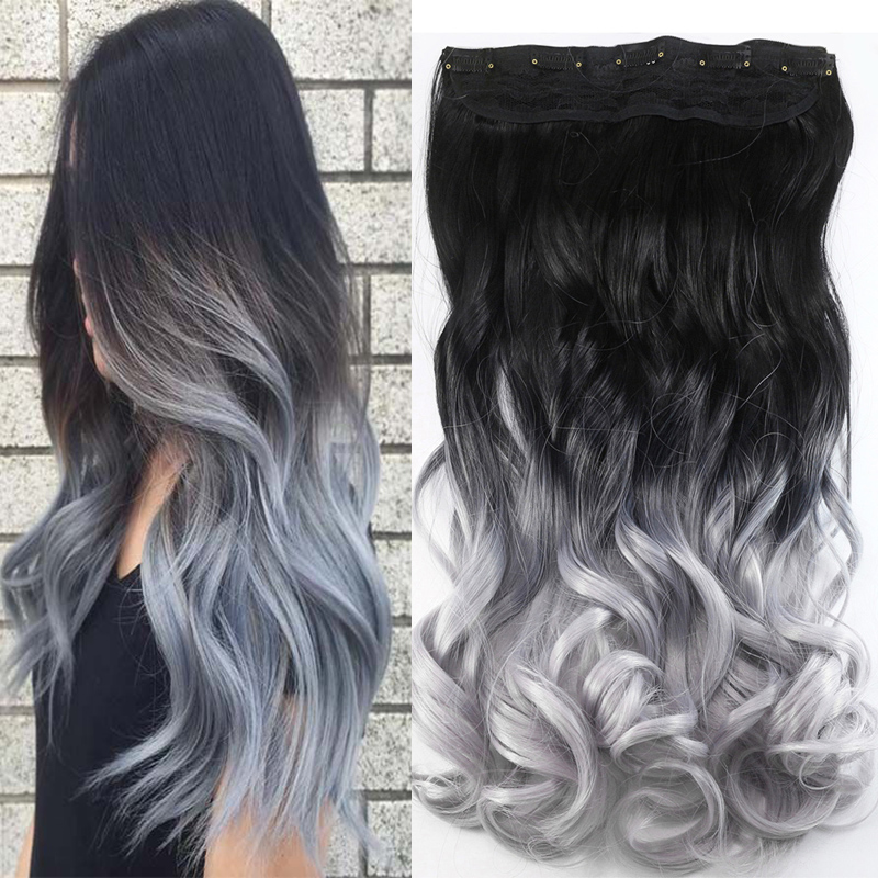 Aimei Synthetic One Piece Clip In Hair Extensions 24 Wavy Silver