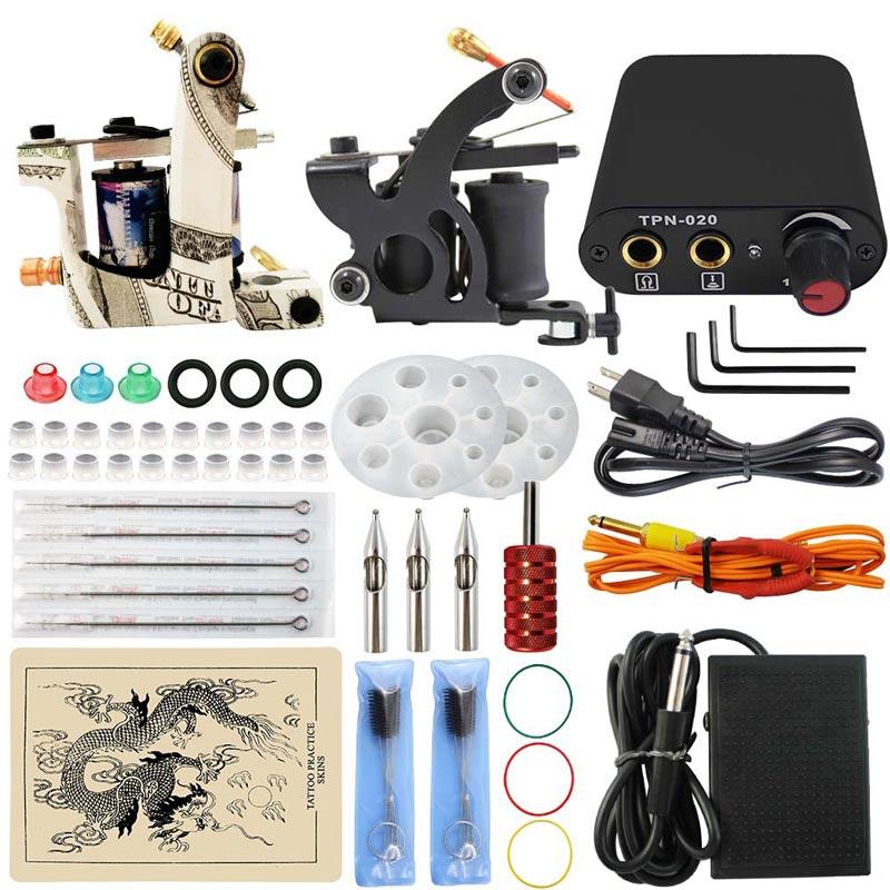 Besta 2 Tattoo Machine Gun Tattoo Kit Body Tattoo Art with Grips Needles Black Power Units Tattoo Tool Kits цены