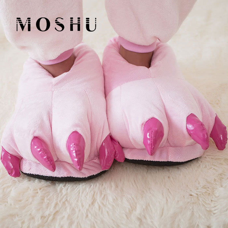 Men&Women Winter Slippers Funny Home Slippers Animal Paw Children Plush Slippers Female Fuzzy Fur Flip Flops Slides designer fluffy fur women winter slippers female plush home slides indoor casual shoes chaussure femme