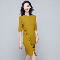 Knitted Dress Women 62% Viscose Blends Elastic Fabric O Neck Half Sleeve Ruffles 3 Colors Casual Straight Dress New Fashion 2018