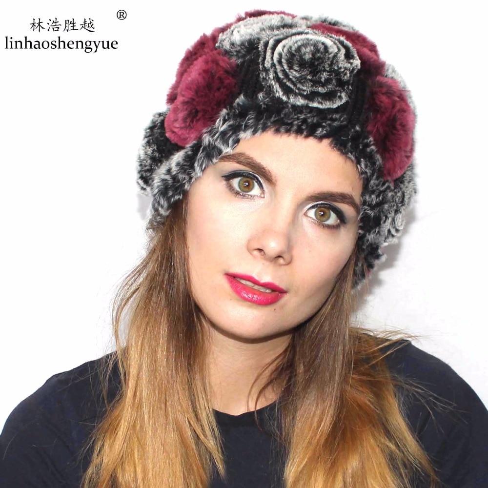 Linhaoshengyue Rex králík vlasy módní růže kupole termální ucho kožešiny klobouk žena zimní