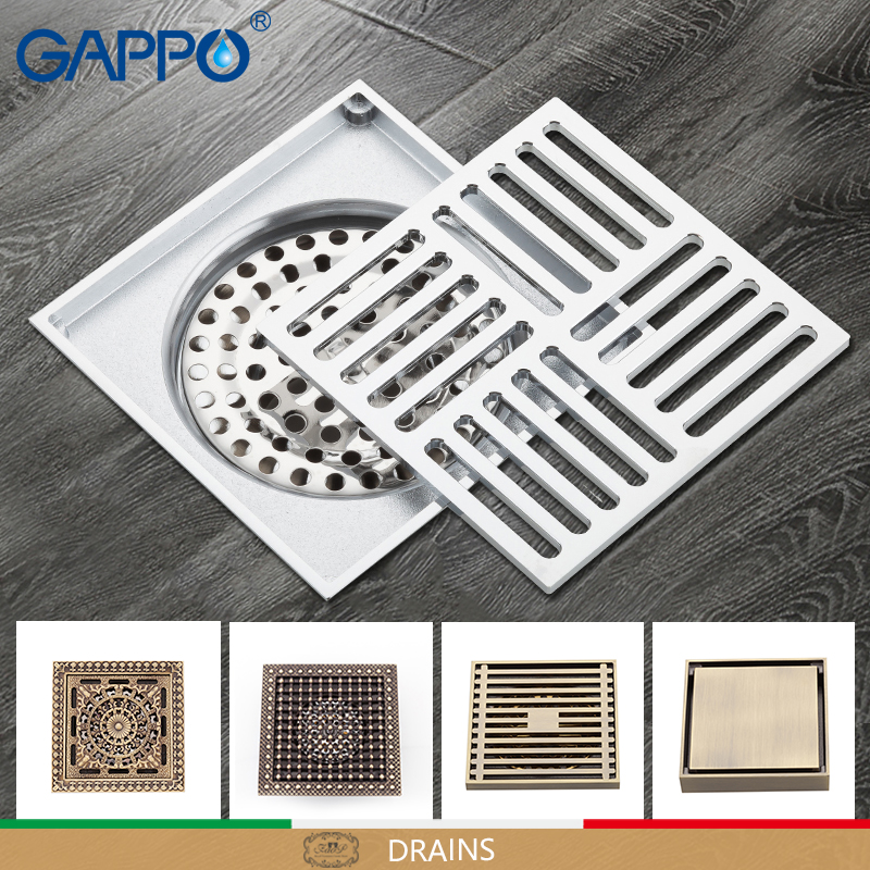 GAPPO Drains bathroom floor drain shower floor cover antique brass shower drain chrome plugs цена