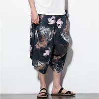 2019 New Men Pants Joggers Harem Pants Linen Hip Hop Baggy Cotton Fashion Casual Pants Wide Leg Trousers Loose Pants Drawstring