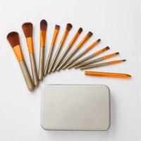 NAKED 12PC Wood Handle Makeup Eye Shadow Contour Concealer Blush Concealer Brush Set With Blender Makeup