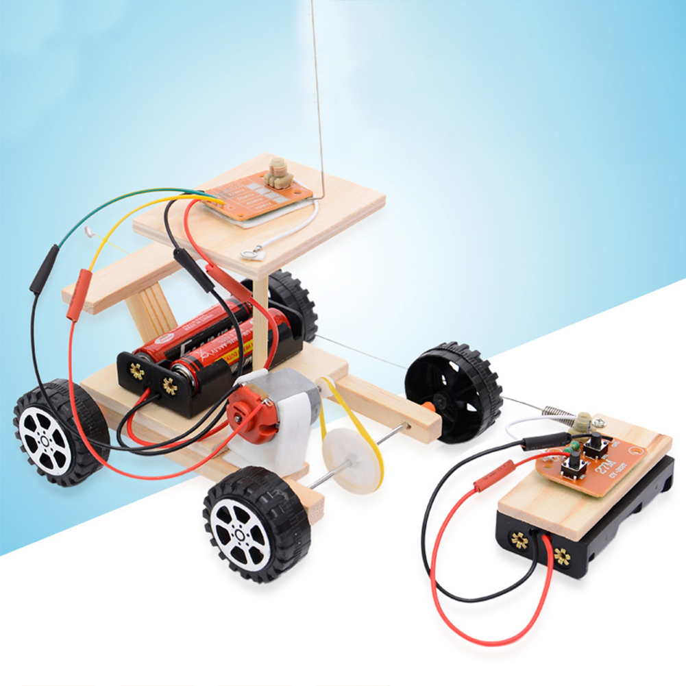 Wooden Physical Assembled Racing Model Kit Radio Knowledge Safe DIY Car Wireless Set Remote Control Gear Action Motor Principle