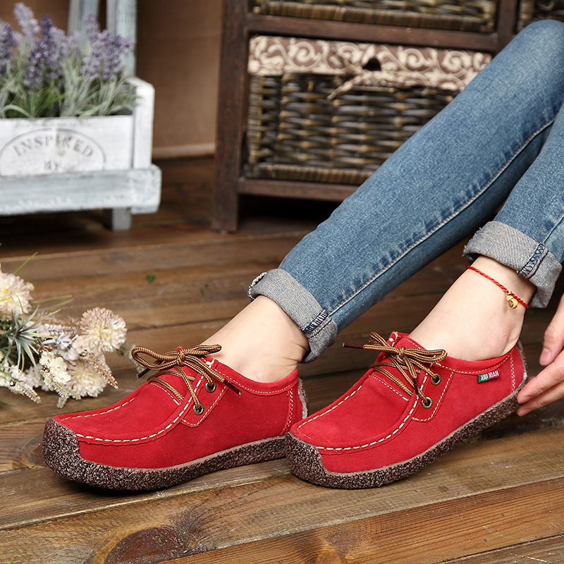 Women flats 2018 fashion breathable women sneakers loafers flats shoes woman tenis feminino   leather     suede   lace-up boat shoes