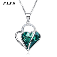 F.I.N.S Black Green Austrian Crystal Charms Necklace Women Pendants Fashion S925 Sterling Silver Heart Wedding Jewelry Bijoux