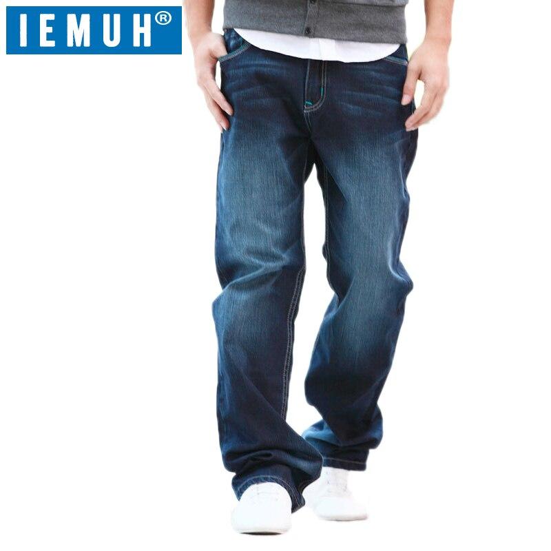 IEMUH Plus La Taille Jeans Homme Denim Jeans Casual Moyen Taille lâche Long Pantalon Mâle Solides Droites Jeans Pour Hommes Classique 28-48