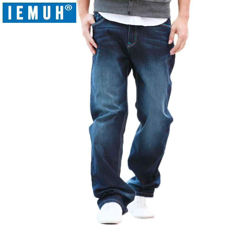 IEMUH Plus Size Jeans Man Denim Jeans Casual Middle Waist Loose Long Pants Male Solid St ...