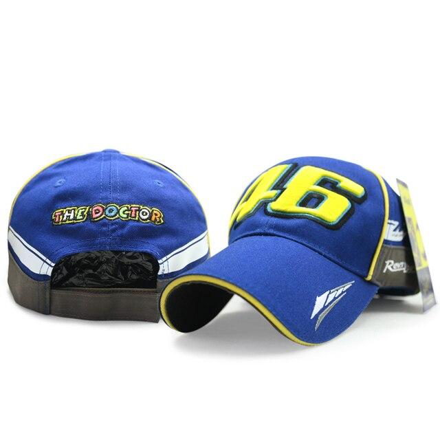 Alta qualidade nova moto moto gp vr rossi 46 Boné de beisebol osso gp racing F1 Racing Cap chapéu viseira cap rossi vr46 homens Azul gorra