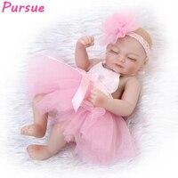 Pursue Bebe Reborn Silicone Baby Dolls Baby Alive Doll Reborn Interactive Toys for Children Girls Baby Reborn Silicone Body 27cm