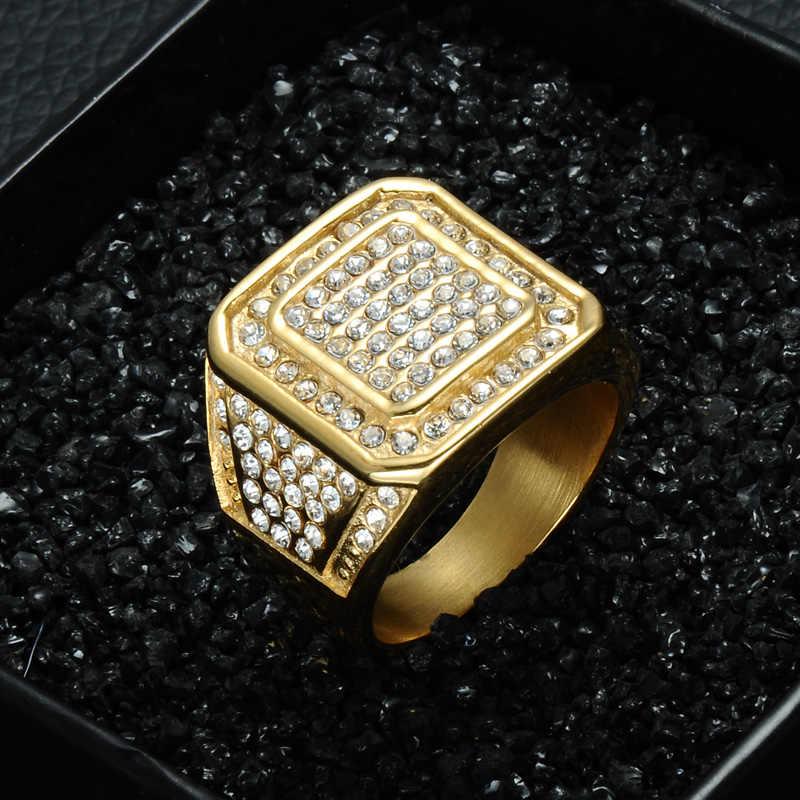 HIP Hop Bling Iced Out Square คริสตัลแหวนทองสีสแตนเลสสำหรับบุรุษเครื่องประดับขนาด 8-13