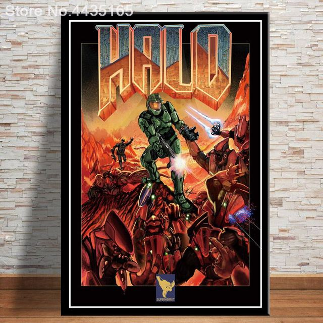 The Ultimate Doom Game Poster Halo Video Games Wall Art Picture Canvas Painting for Living Room Home Decor Posters and Prints 2