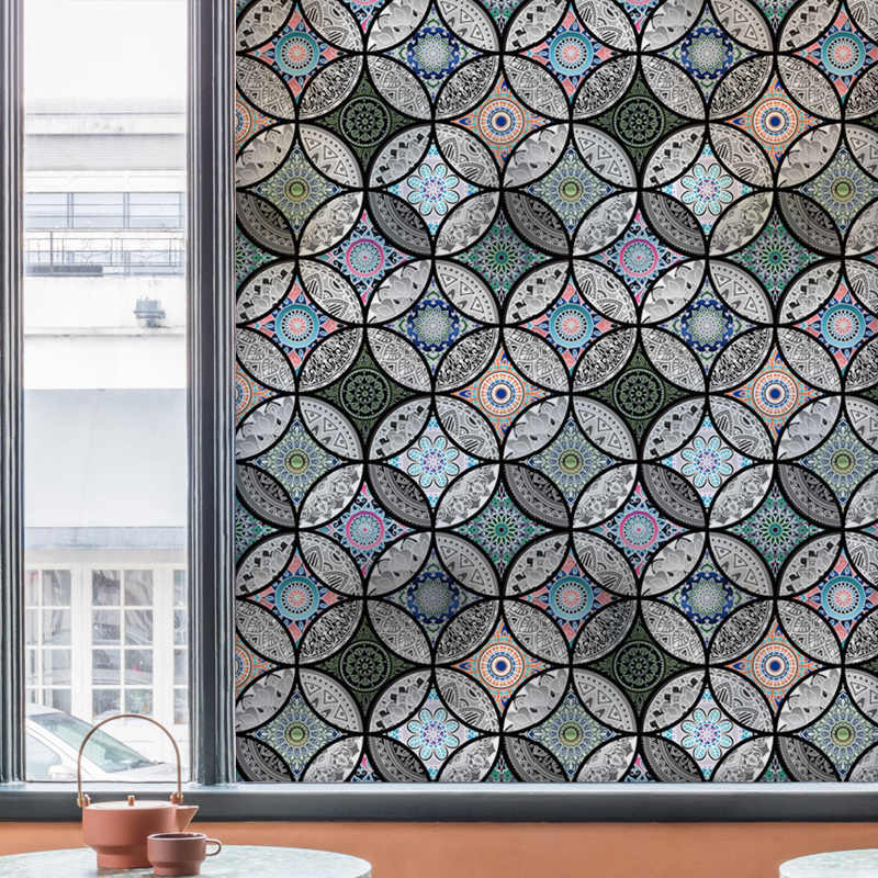 Statica finestra di Vetro autoadesivo Pellicola privacy Complementi Arredo Casa decorativa stained glass window film