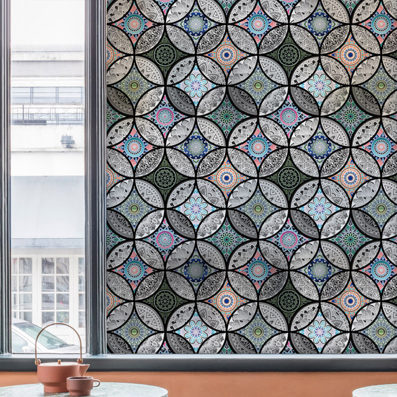 Static window sticker Glass Film privacy Home Decor decorative stained glass window film in Decorative Films from Home Garden