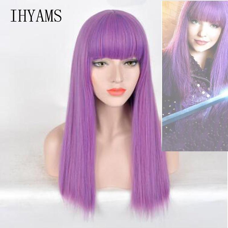Descendants 2 Mal Bertha Maleficent Long Live Evil Straight Purple Kids Adult Cosplay Wig + Free Wig Cap