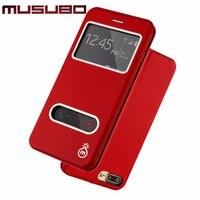 Musubo pu جلد حالة تغطية ل iphone 7 فليب حالات آيفون 7 زائد 6 6 ثانية عرض نافذة عرض موقف غطاء الذكية حامي الشاشة