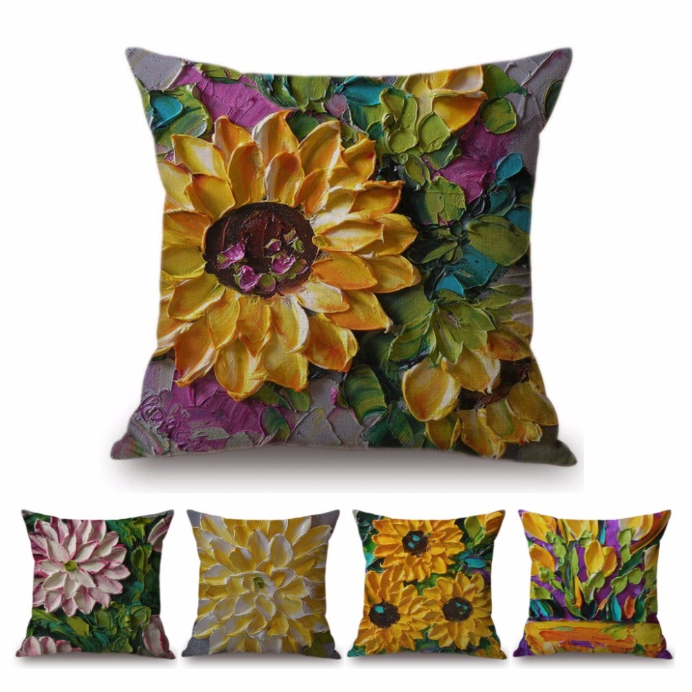 Modern Art Decoration Household Sofa Pillow Cover 3D Color Oil Painting Summer Flower Sunflower Sleeping Lily Cushion Cover Case