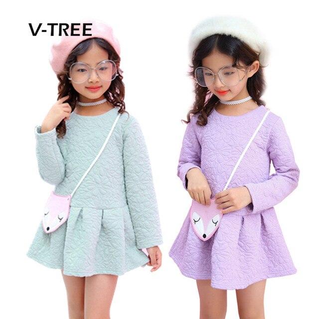 V-TREE Платье для маленьких девочек осень-зима Сгущает Теплый платье для девочки длинный рукав модная детская одежда платье для малышей От 2 до 6 лет