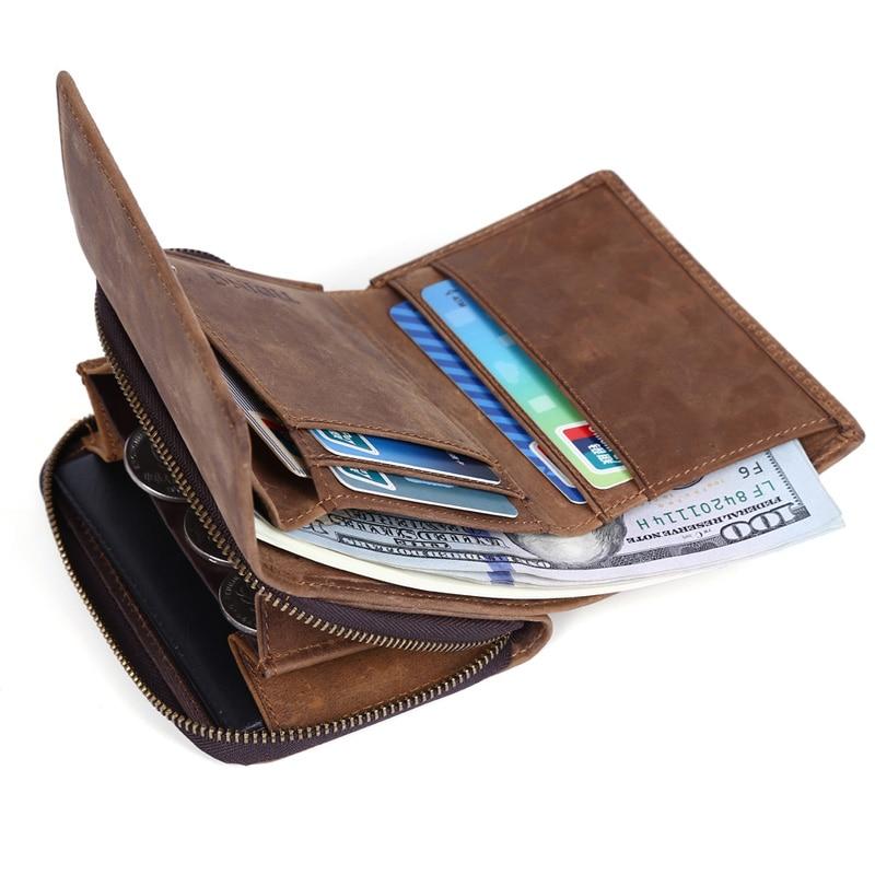 Tiding Designer Genuine Leather Mens Wallet Brown Trifold