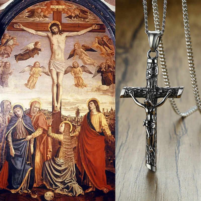ヴィンテージクロスイエスペンダントネックレス女性男性映里クリスチャン宗教ステンレス鋼