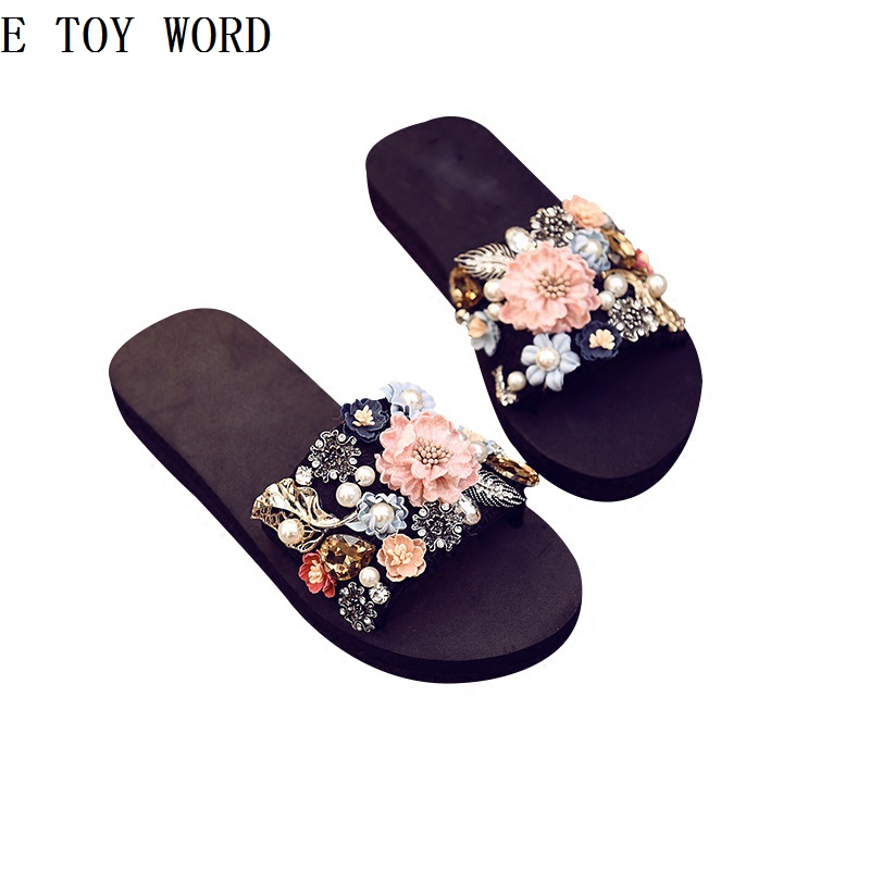 Diamond is cool procrastinate female summer wear fashion slippers outside the joker sea thick at the end of a wedge in the summer of 2016 the new wedge heels with fish in square mouth denim fashion sexy female cool shoes nightclubs