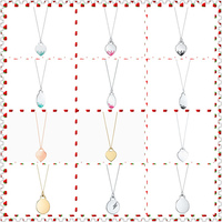 SHINETUNG Original 100% S925 Sterling Silver Colourful Heart&Egg Shape Rounded Pendant Necklace Women Logo Fine High End Jewelry