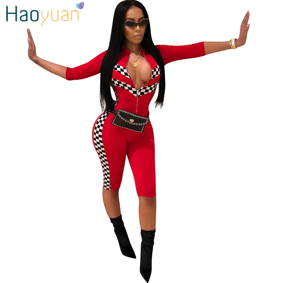 HAOYUAN Plus Size Sexy Playsuit Plaid Patchwork 2018 Summer Overalls Streetwear Casual One Piece Bodycon Rompers Womens Jumpsuit