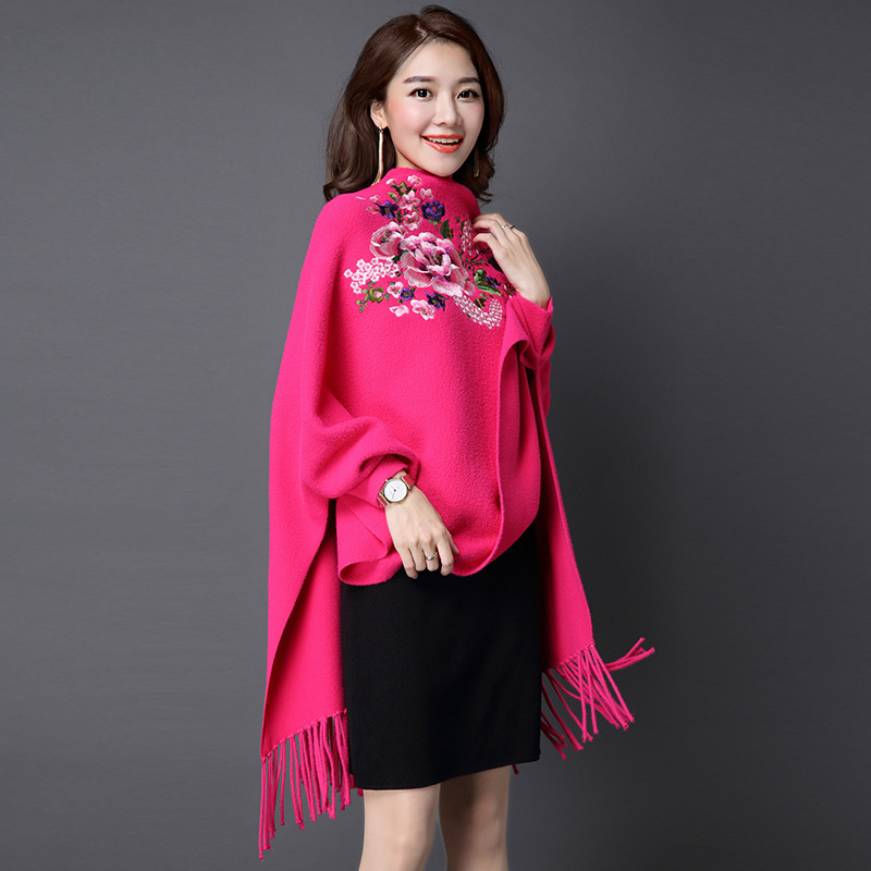 638828 women's autumn and winter new knitted cardigan imitation double-sided bat sleeve embroidery Tassel women's Cape shawl