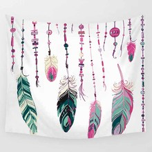 Hot sale different style color beautiful feather  pattern wall hanging tapestry home decoration wall tapestry tapiz pared