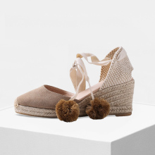 women shoes Calf suede  wedge espadrilles, women mid height espadrilles босоножки espadrilles