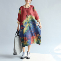 2017 Autumn Winter Women Oversized Dress New Korean Fashion Loose Color Print And Dyeing Cotton And