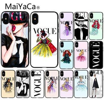 MaiYaCa marca mujer más problemas que Vogue negro TPU teléfono cubierta 8 para el iPhone de Apple 7 6 6S Plus X XS MAX 5 5S SE XR teléfonos móviles