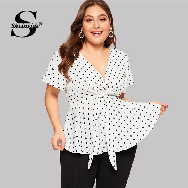 Sheinside Plus Size White Elegant Polka Dot Print Top Women 2019 Summer V Neck Knot Front Blouse Ladies Flared Hem Trim Tops
