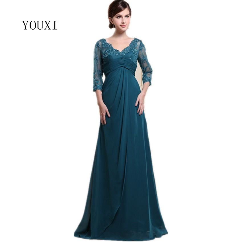 YOUXI Three Quarters Sleeves Elegant Mother Of The Bride Dresses 2017 Chiffon Lace Beaded Long Evening Formal Gowns