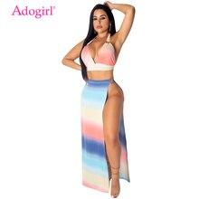 Adogirl Colorful Tie Dye Print Two Piece Set Women Sexy Dress Halter Bra Top High Slit Maxi Skirt Summer Beach Dresses Clubwear недорого