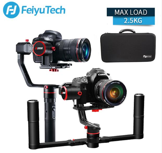 feiyu a2000 3 Axis Gimbal DSLR Camera Stabilizer Dual Handheld Grip for Canon 5D SONY Nikon 2000g Payload Bluetooth with bag