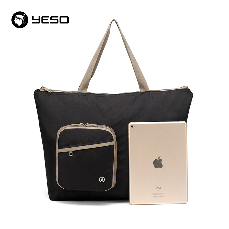 YESO Black Folding Shopping Bags Women 13L Totes Waterproof Nylon Top-Handle Bags Large Capacity Unisex Lightweight Folding Bags