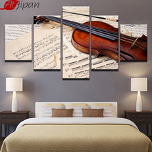 Violin And Music Score Paintings 5 Panels HD Printed Unframed Modular Canvas Picture Fashion Home Decor Wall Art Poster