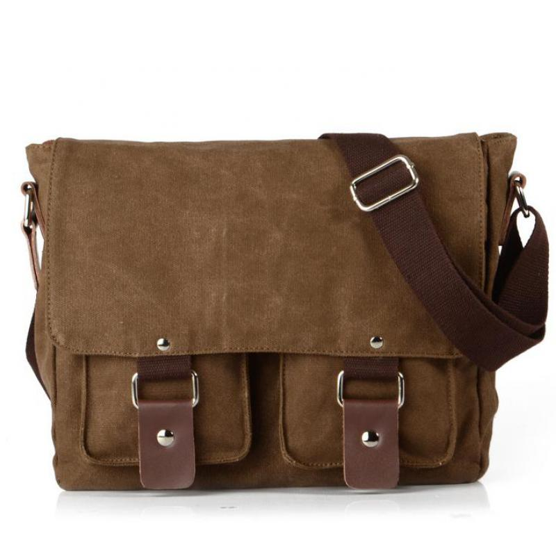 лучшая цена 2017 Vintage Canvas Messenger Bag Man Travel Bags Retro School Bag Hasp Military Style Handbag Multi-pocket Rivet Shoulder Bag